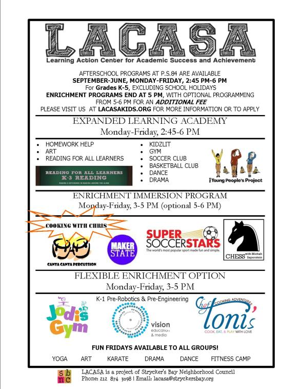 LACASA After School Flyer for 2014-2015